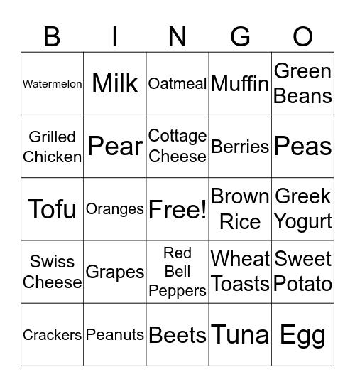 MyPlate Bingo Card