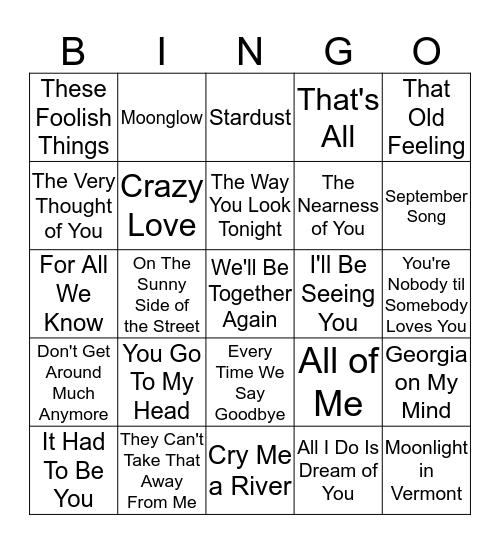 GREAT SONGS Bingo Card