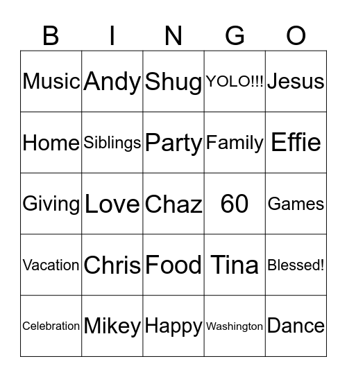 Happy 60 Years Blessed!  Bingo Card