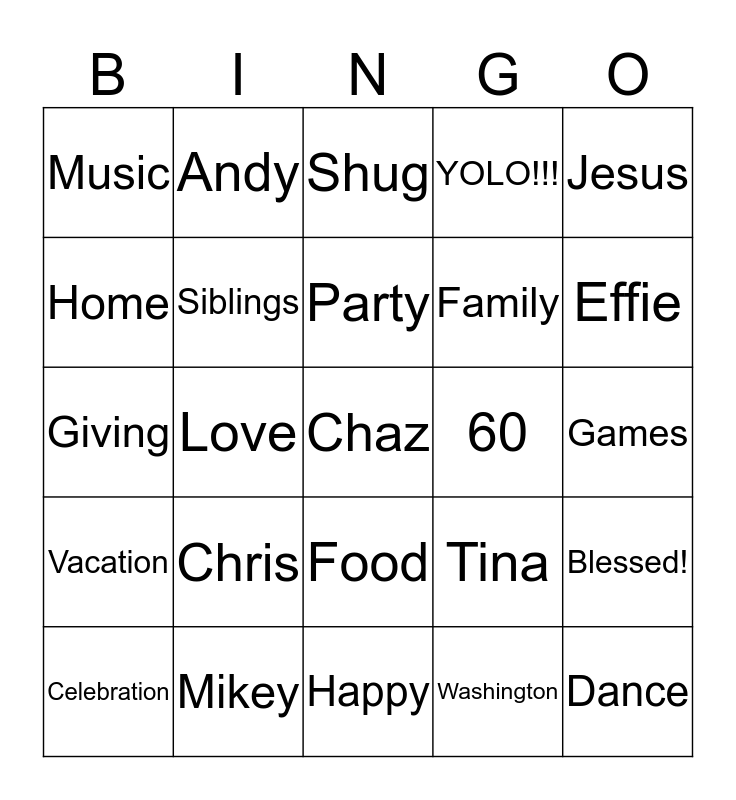 Happy 60 Years Blessed!  Bingo Card