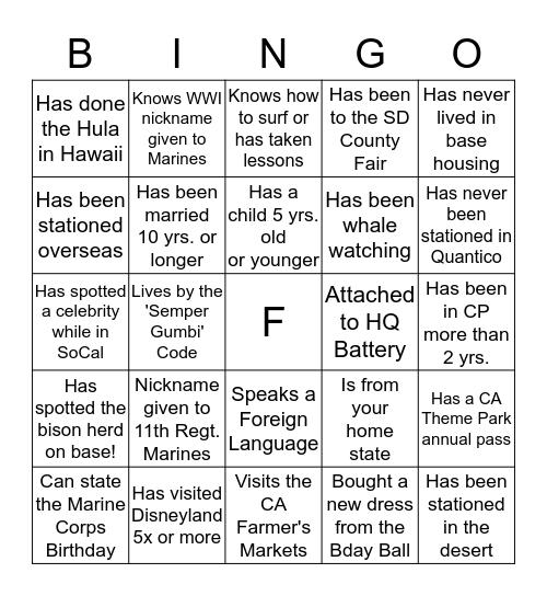 Surpise Party Bingo Card