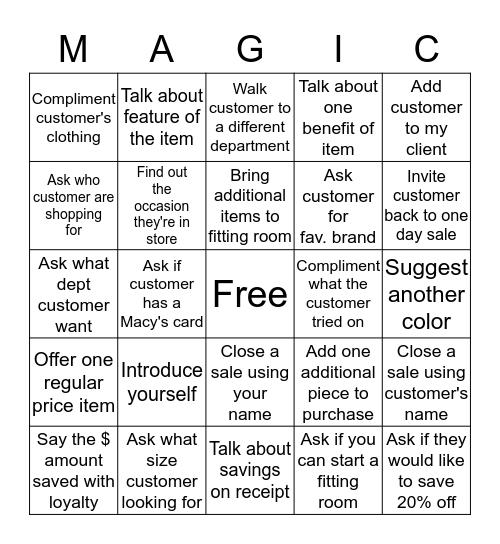 Magic Bingo Card