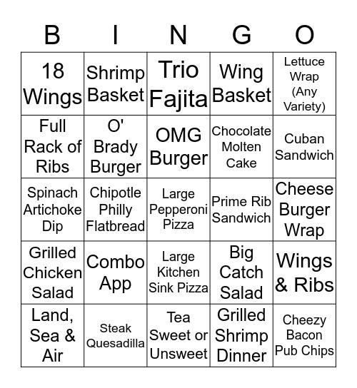 Beef 'O' Brady's Bingo Card