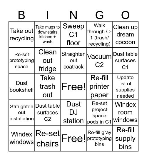 Clean Up! Bingo Card