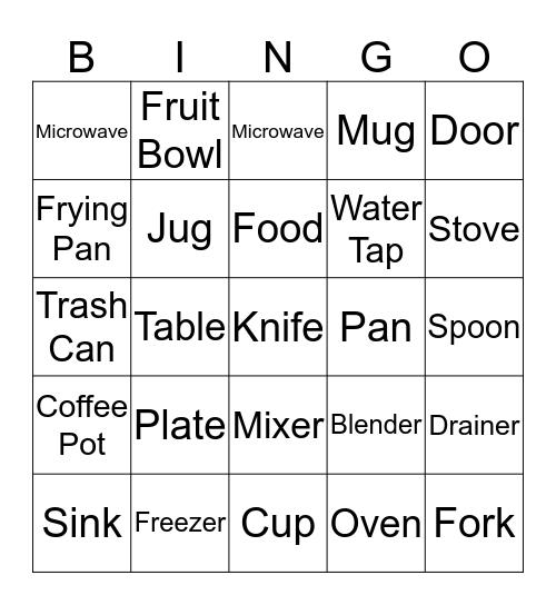 In the kitchen Bingo Card