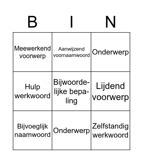 Grammatica bingo Card