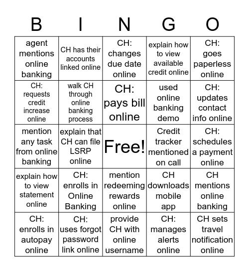 Online Banking Demo Bingo! Bingo Card