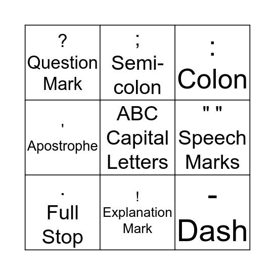 Punctation Bingo Card