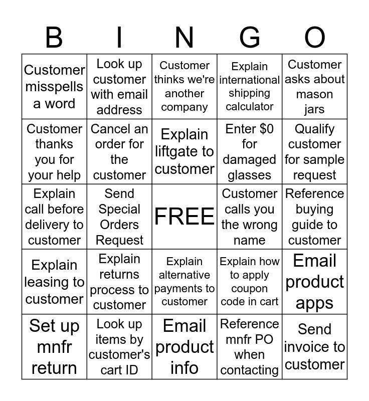Customer Contact Bingo Card
