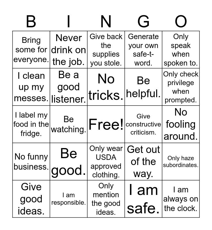 "SAFE ""T"" WORD BINGO! Bingo Card"