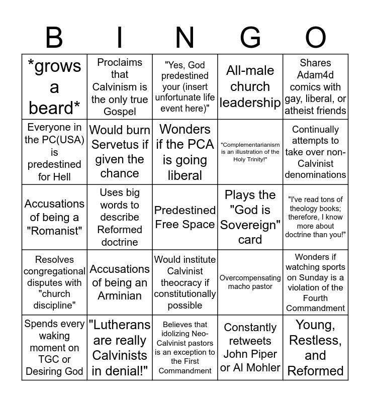 Neo-Calvinist Bingo Card