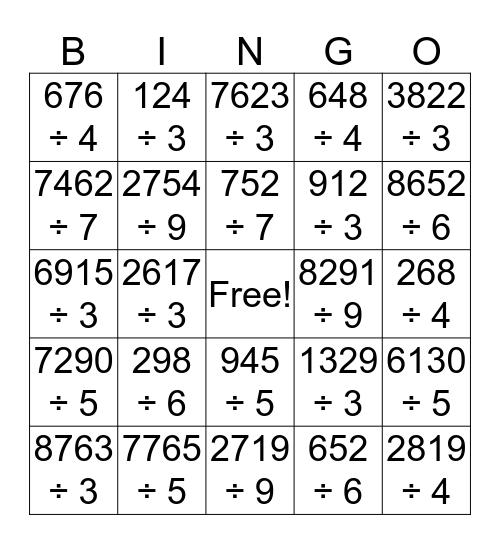 Short Division Bingo Card