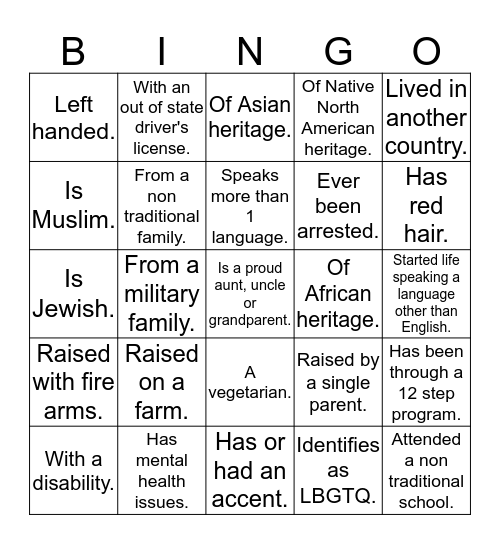 YOU OR PERSON IN YOUR FAMILY BINGO Card
