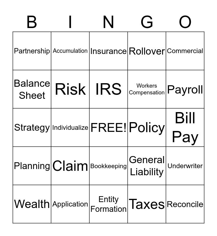 BNI Bingo Card