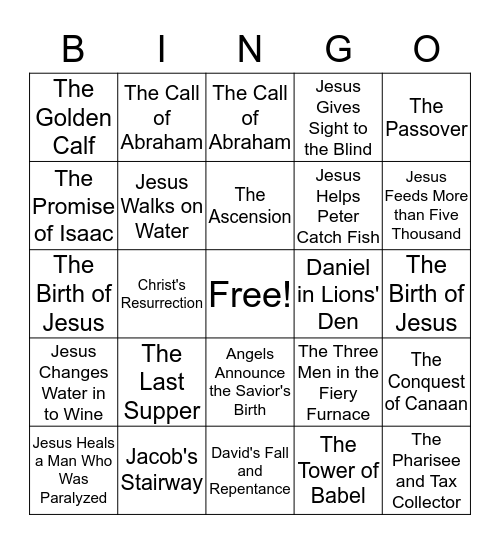Bible Stories Bingo Card