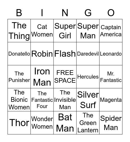 SUPER  HERO Bingo Card