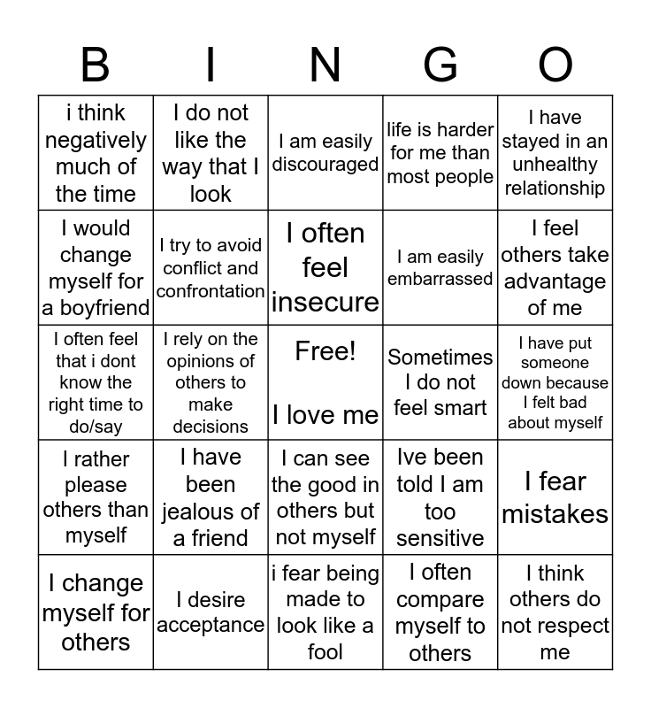 Self Esteem Bingo Card