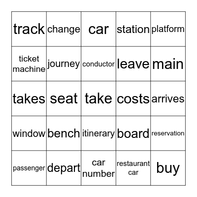 Train travel Bingo Card
