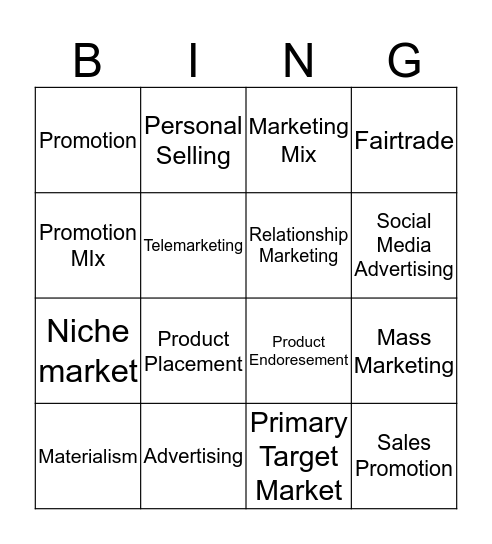 Promoting and Selling  Bingo Card