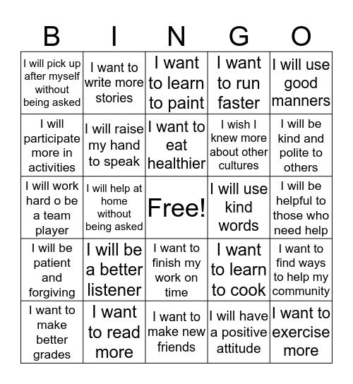 I Accept That Challenge! Bingo Card