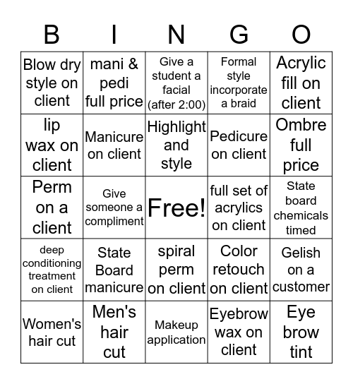 Charles of Italy Beauty College Bingo Card