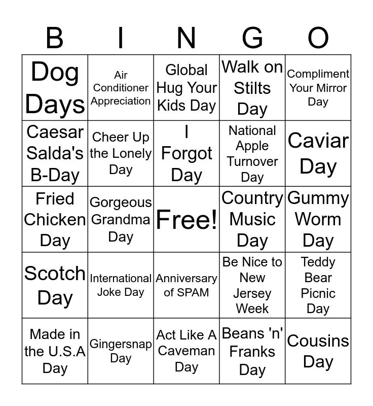 July Holiday Insights Bingo Card