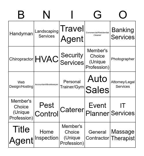 BNI Referral Partners BNIgo Bingo Card