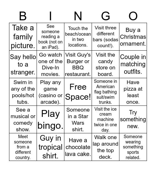 Cruise Bingo! Bingo Card