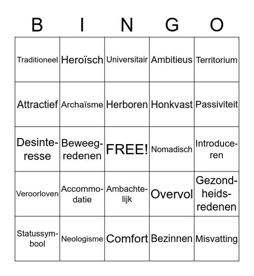 Hoofdstuk 6: Taal en woordenschat Bingo Card