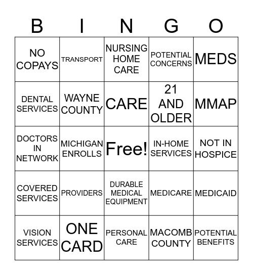 MI HEALTH LINK Bingo Card