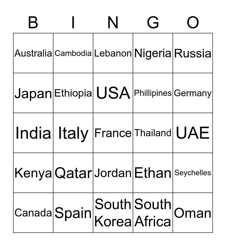 Been Around the World and... Bingo Card