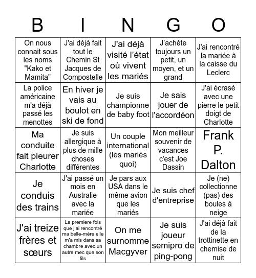Le Bingo des Invités Bingo Card