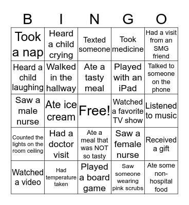 Hospital Stay Bingo Card