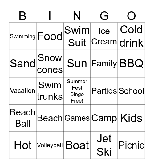 Summer Fest Bingo Card