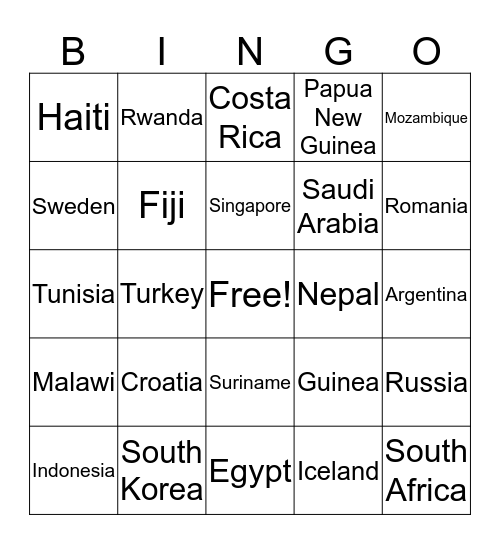 World Countries Bingo Card