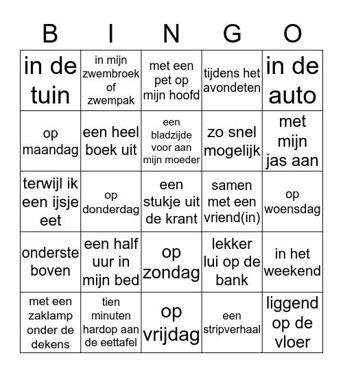 Ik lees in de vakantie...  Bingo Card
