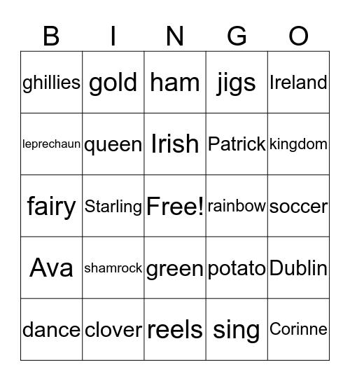 Irish Camp Bingo Card