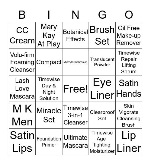 MARY KAY SKIN-TASTIC Bingo Card