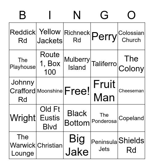 Mulberry Island/Colony Reunion Bingo Card