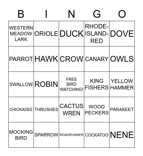 BIG BIRD BINGO Card