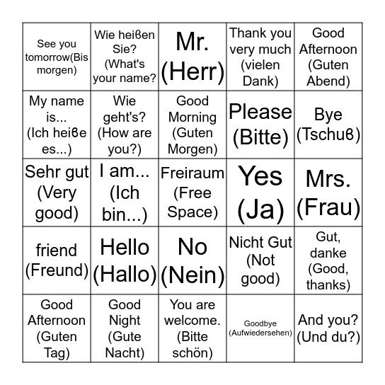 German Greetings (Deutsch Grüϐe) Bingo Card