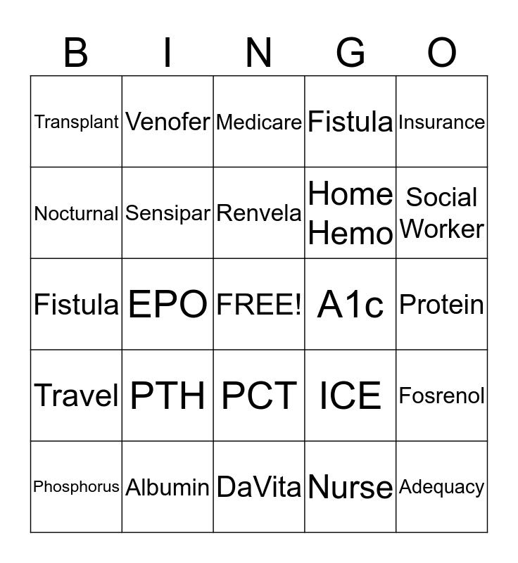 NATIONAL TRANSPLANT MONTH!! Bingo Card
