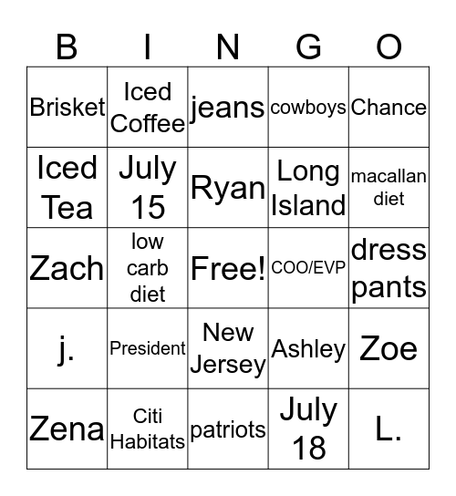 G&P BINGO Card