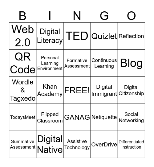 BCSD Vocabulary Bingo Card