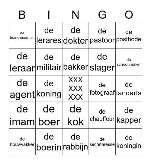 les 11   beroepen Bingo Card