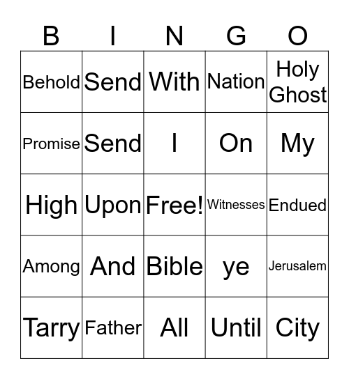 DAY 1  St. LUKE 24:49 Bingo Card