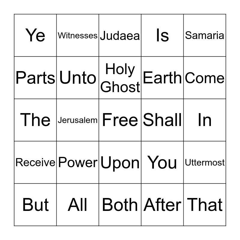 Day 2 Acts 1:8 Bingo Card