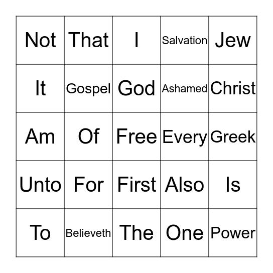 Day 3 Romans 1:16 Bingo Card