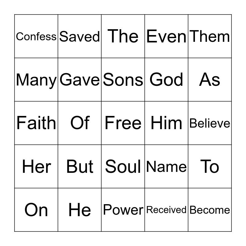 Day 4 St. John 1:12 Bingo Card