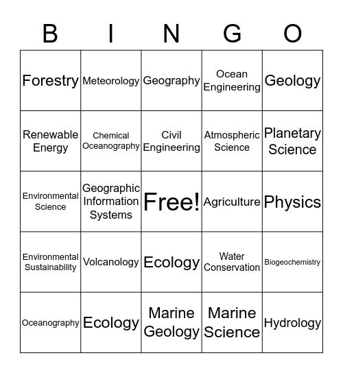 Geosciences Bingo Card